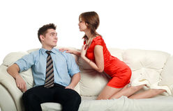 Temptation, emotional relationship, a passionate young couple Stock Photo