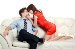 Temptation, emotional relationship, a passionate young couple Stock Photography