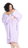 Temptation -  fat woman in bathrobe Royalty Free Stock Photography