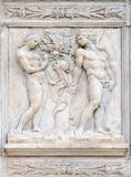 Temptation. Genesis relief on portal of Saint Petronius Basilica in Bologna, Italy Stock Photography