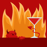 Temptation image person looking devil demon cocktail bar symbol Stock Photos