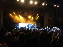 Within Temptation live concert. 03 September 2016- Bucharest, Romania. The rock band Within Temptation singing live at Arenele Romane Stock Image