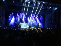 Within Temptation live concert. 03 September 2016- Bucharest, Romania. The rock band Within Temptation singing live at Arenele Romane Royalty Free Stock Photo