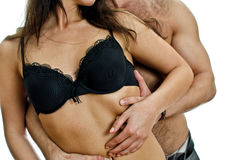 Temptation: male and female body. Isolated on white stock photo