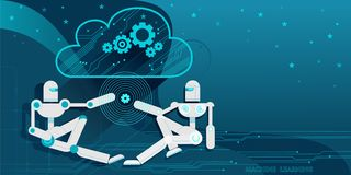 Temptation. Two android robots, symbolizing machine learning, exchange information with each other through the Cloud computing. Vector flat illustration blue