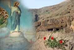 Free Temptations Of Jesus Christ, Desert Mountain, Poppies Stock Image - 144770901