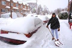 Tempête de neige à Montréal Photographie stock libre de droits