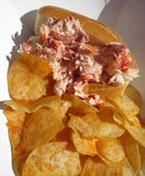 Tempting Lobster Roll Sandwich and Chips Royalty Free Stock Photography