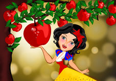 Snow white. And the tempting red apple illustration Royalty Free Stock Photos