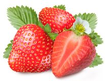 Tempting strawberries with leaves Royalty Free Stock Photo