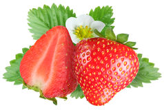 Tempting strawberries with leaves Royalty Free Stock Images