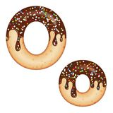 Tempting Typography. Font Design. 3D Donut Letter O Glazed With Chocolate Cream And Candy Royalty Free Stock Images