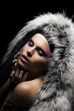 Tempting woman in coat with silver fox fur collar Royalty Free Stock Photography