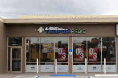 Tempur-Pedic Sign Store Front. Fort Lauderdale, FL, USA - April 24, 2016: Tempur-Pedic storefront and signage in a days morning. Directly outside the front of a Royalty Free Stock Photo