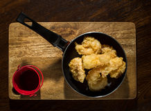 Tempura battered Prawn. With bbq souce royalty free stock image
