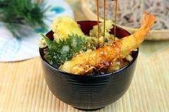 Tempura bowl. It is the Japanese food called the tempura bowl royalty free stock photos