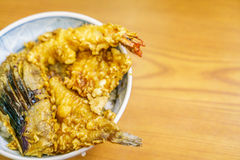 Tempura bowl on table. Royalty Free Stock Image