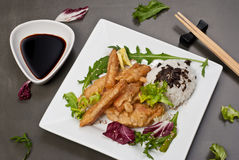 Tempura chicken. (deep fried chicken) on white plate on gray table royalty free stock images