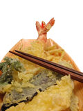 Tempura and chopsticks-clipping path Royalty Free Stock Photos