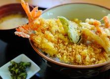 Tempura com arroz imagens de stock