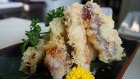 Tempura de Anago del japonés de pescados y de verduras en plato negro en r Imagen de archivo libre de regalías