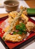 Tempura dinner. Vegetable tempura served on a bamboo plate Stock Photography