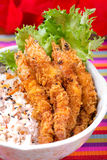 Tempura do camarão com arroz do córrego Imagem de Stock