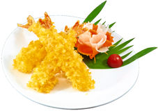 Tempura. The Isolation Japanese traditional food in the decorated container stock photos