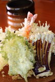 Tempura 4. Japanese tempura set consisting of shrimp, egg plant, shiso leaf and carrot Stock Images