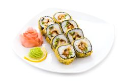 Tempura maki. Image of tempura maki sushi with pickled ginger and wasabi on plate stock photo