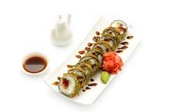 Tempura Maki Sushi av tonfisk Arkivfoto