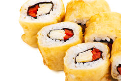 Tempura Maki Sushi or Deep Fried Roll with Paprika Stock Photography