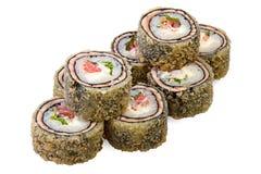 Tempura Maki Sushi with salmon. Isolated on white background Stock Photo
