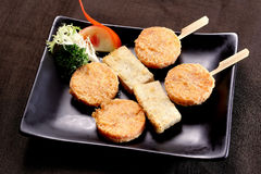 Tempura meatball yakitoui. China Korea food background  Tempura meatball yakitoui Royalty Free Stock Images