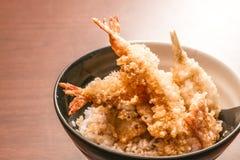 Tempura mit Reis in einer Schüssel, japanisches Lebensmittel Stockbilder