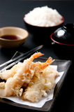Tempura Moriawase. With rice  in restaurant on yesterday. Janpan food gave me to know japanese culture and custom with japanese people Royalty Free Stock Photo