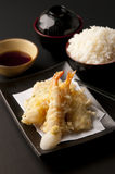 Tempura Moriawase with rice. Tempura Moriawase in restaurant on yesterday Royalty Free Stock Image