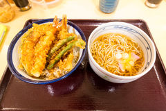 Tempura over rice bowl and soba noodle soup Royalty Free Stock Photos