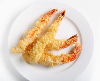 Tempura prawns from above Stock Image