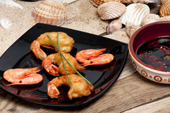 Tempura prawns on the beach Stock Image