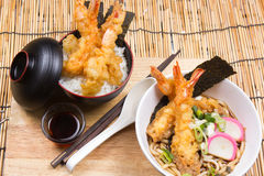 Tempura on rice and Udon Ramen Royalty Free Stock Photography