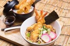 Tempura on rice and Udon Ramen. / Cooking Tempura concept royalty free stock image