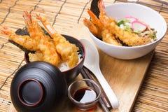 Tempura on rice and Udon Ramen. / Cooking Tempura concept stock photography