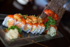 Tempura Roll with Crab and Lobster stock images