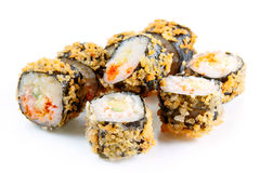 Tempura roll with salmon and avocado Royalty Free Stock Images