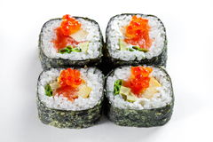 Tempura roll with salmon and red caviar isolated on white. Hot sushi rolls Royalty Free Stock Photo