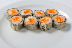 Tempura Rolls on the white plate. Japanese cuisine royalty free stock photography