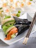 Tempura and sake temaki Stock Photo