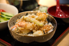 Tempura served over a bowl of rice Royalty Free Stock Photography