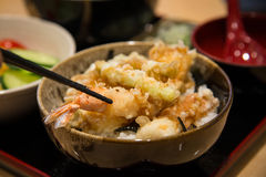 Tempura served over a bowl of rice Royalty Free Stock Photos